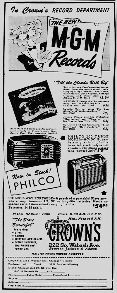 April 7, 1947 MGM RECORDS AD Chicago_Tribune BLOG