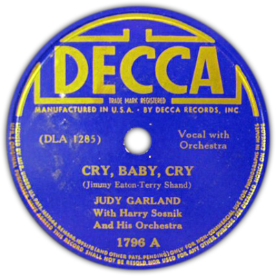 "Judy Garland ""Cry, Baby, Cry"" recorded for Decca Records on April 24, 1938"