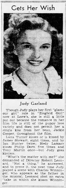 "Judy gets her wish - Judy Garland in ""Ziegfeld Girl"""