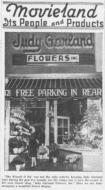 Judy Garland at her flower shop,
