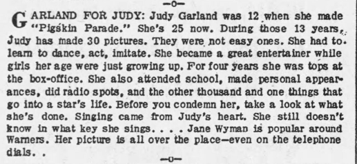 In defense of Judy Garland - Hedda Hopper