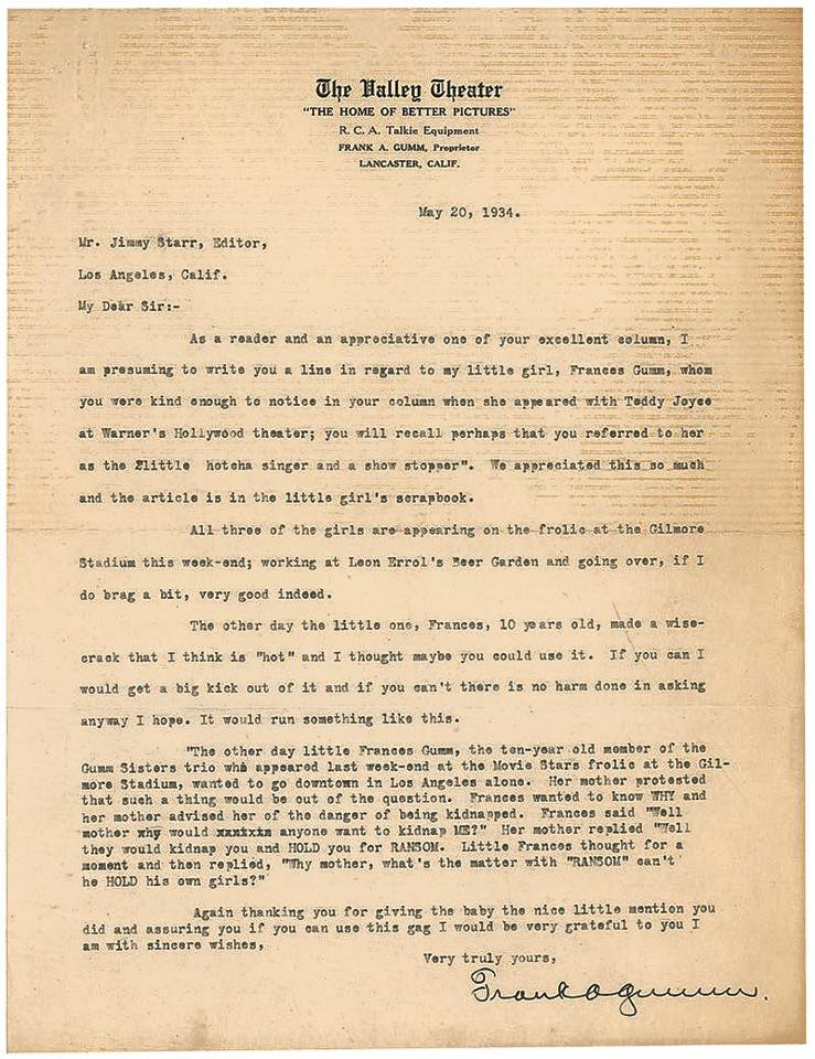 May 20, 1934 Valley Theater 1934 letter 2