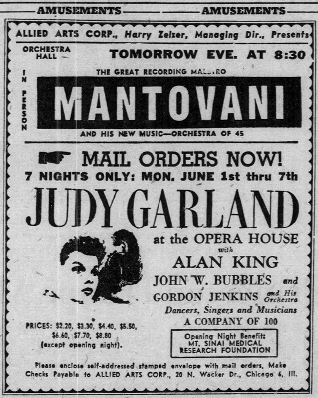 Judy Garland tickets on sale now! For the Chicago Opera House