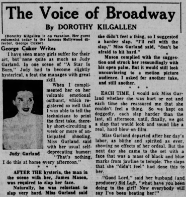 George Cukor fills in for Dorothy Kilgallen and writes about filming A Star Is Born with Judy Garland and James Mason