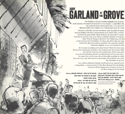 Garland at the Grove original LP back