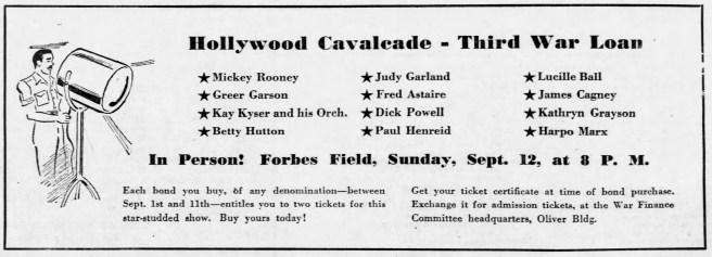 September 8, 1943 (for September 12) BOND TOUR Pittsburgh_Press