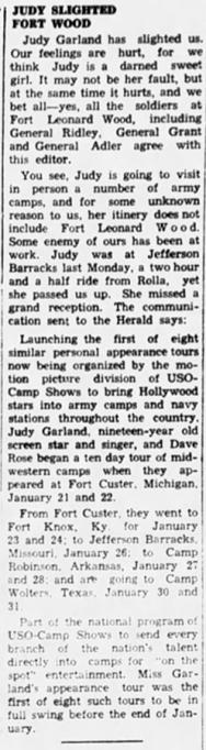 Judy Garland USO Tour