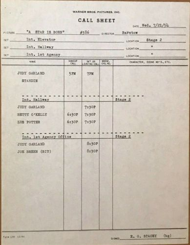July 21, 1954 Call Sheet