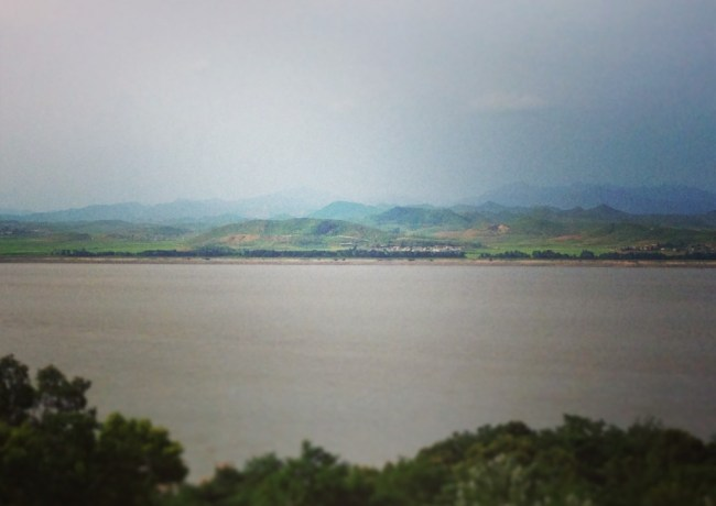 Looking at North Korea across the Han River from Kanghwado observation point.