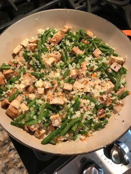 Add tofu and beans.