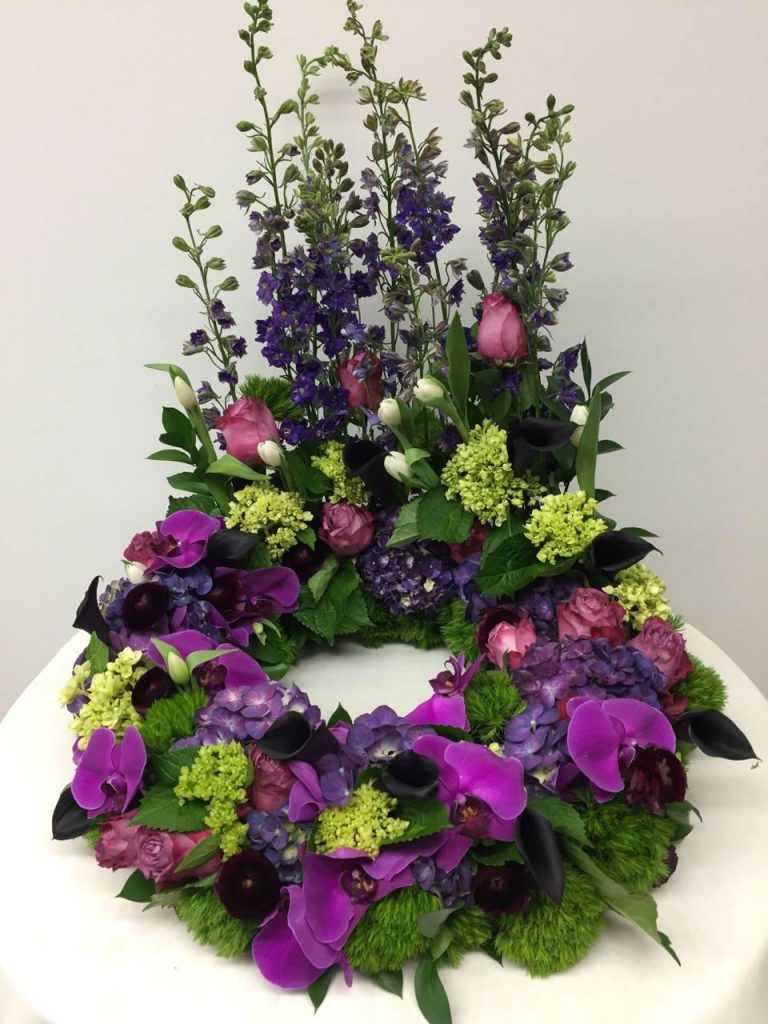 Wreath for Urn In Purple and Greens  Judys Village Flowers