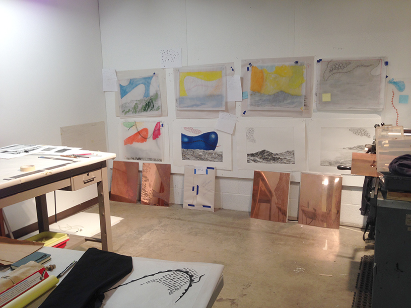 Judy Youngblood working at Flatbed Gallery in Austin