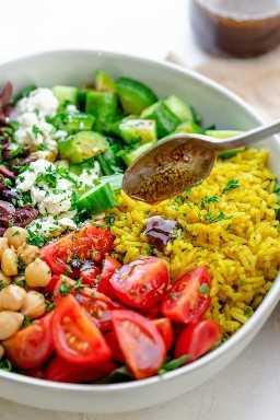 Vinaigrette Pour Salade De Riz : vinaigrette, salade, Salade, Curcuma, Recette, Facile, Saine!
