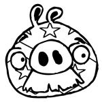 Cerdo con bigotee con cara decorada