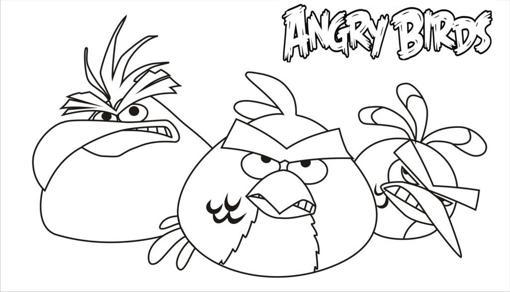 Dibujo para colorear de Angry Birds Rio: Chuck, Red y Blue