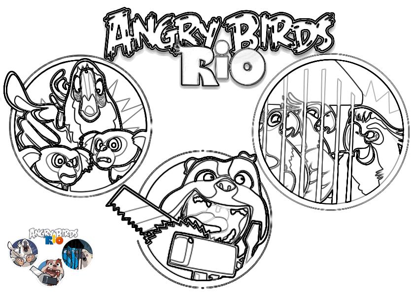 Dibujo Para Colorear De Angry Birds Rio Escenas Del Juego