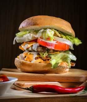 close up photo of a cheese burger