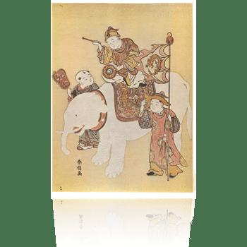白象と唐子 春信