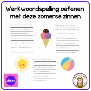 werkwoordspelling oefenen zomerse zinnen