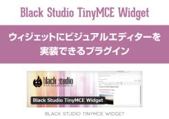 『Black-Studio-TinyMCE-Widget』ウィジェットにビジュアルエディターを実装できるプラグイン