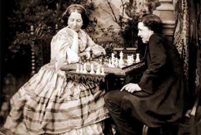 Paul Morphy jugando al ajedrez con la reina Victoria de Inglaterra