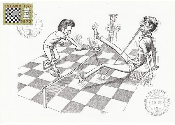 Spassky-Fischer (1972) Una Epopeya en Caricaturas-Halldór Pétursson-2