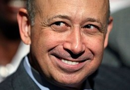 Goldman Sachs CEO Blankfein attends a speech by President Obama about financial regulation at Cooper Union in New York