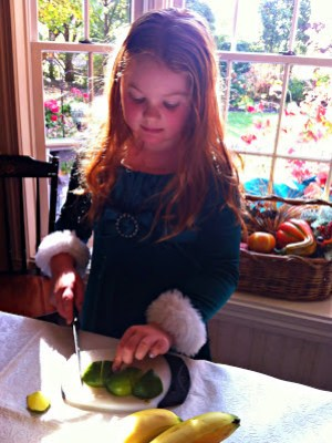 Learning to cut a lime.