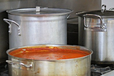Sauce and boiling water ready to go for our pasta