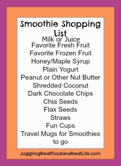 Smoothie Shopping List
