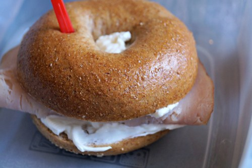 Turkey and cream cheese bagel