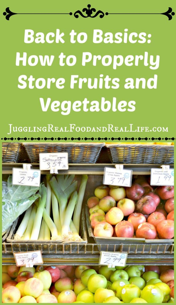 Proper storage of fruits and vegetables