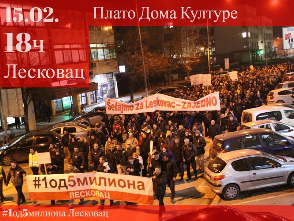 Treći protesti večeras u Leskovcu