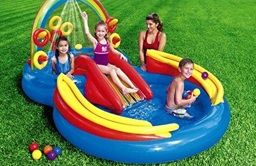 Centro de juegos con piscina hinchable tobogn y accesorios