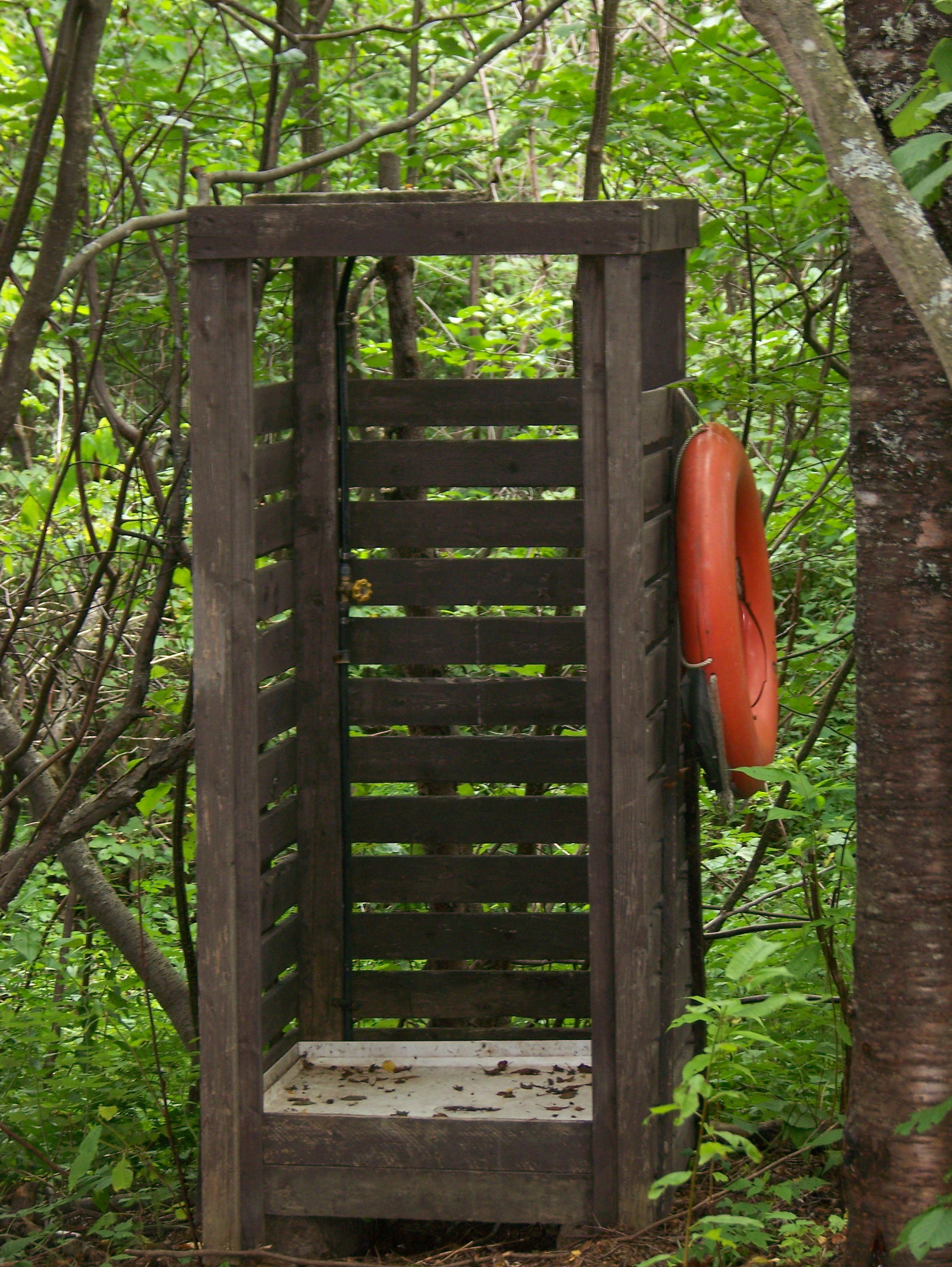 The shower at the trapper's cabin.