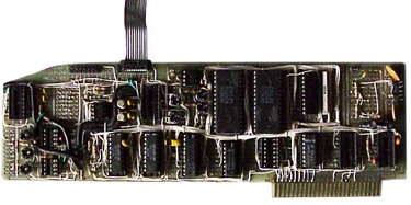This is an expansion board that's a little farther along in the development process than the prototype RAMWorks, the never-completed SoundMeister Pro. If you look closely you can see examples of tight wire-wrapping.