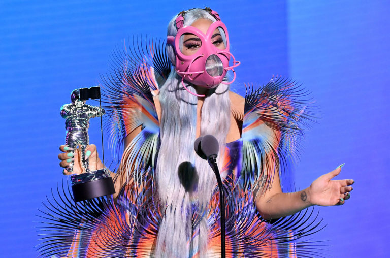 Lady Gaga accepting an award at the MTV VMAs. Photograph: VIACOM/Reuters