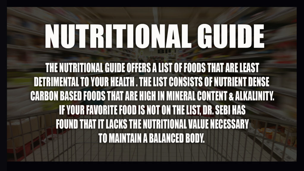 DR SEBI GRAPHIC NUTRITIONAL GUIDE EXPLAINED