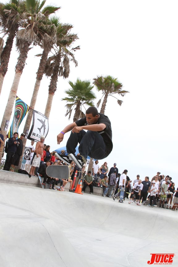 Blake Johnson with a kickflip over the hip. PHOTO: DAN LEVY
