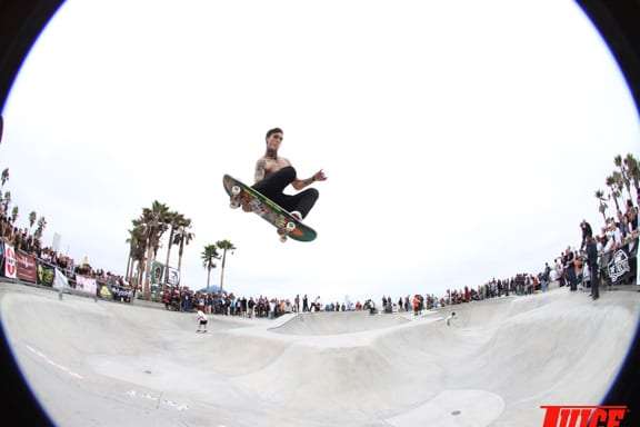 It's possible that JamIe Quaintance goes even higher without his shirt. PHOTO: DAN LEVY