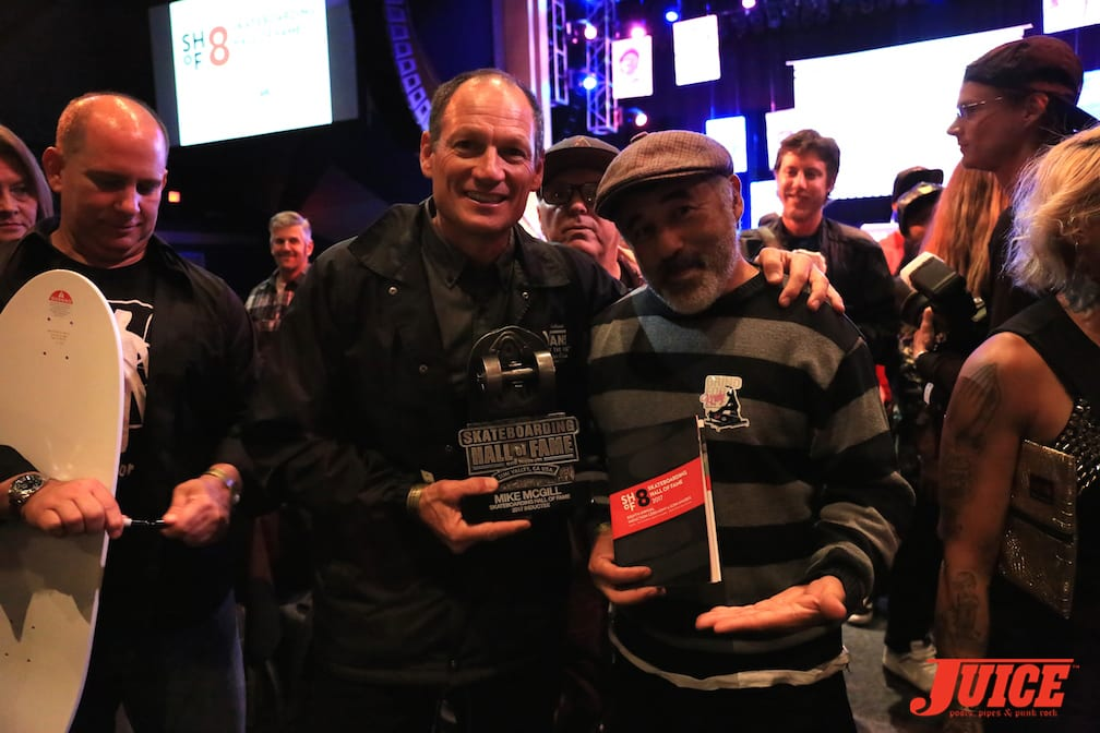 Mike McGill and Steve Caballero. Photo bomb by J Grant Brittain. Congrats McGill! Photo by Dan Levy © Juice Magazine
