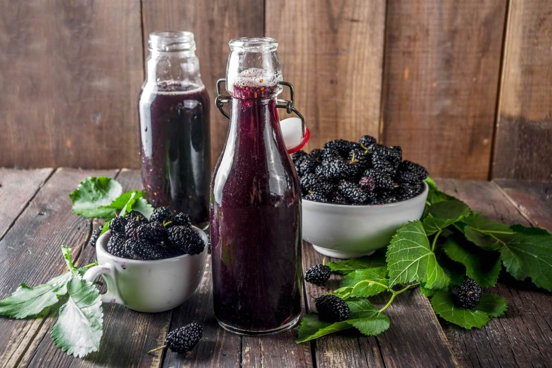 Blackberry Juice with Lemon or Lime in a Bottle and surrounded by leaves and Blackberries