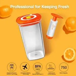 Food Storage Containers Vacuum Sealed, JESE Premium Juicer Storage with Locking Lids, Durable Tritan Material BPA Free for Juice, Nuts, Fruit Biscuit etc- 750ml, Juicer Portal, Review