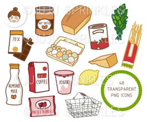 grocery shopping clipart sticker stickers juju food cute clip produce sprinkles frozen illustrations paper vegetables jujusprinkles sold etsy pages