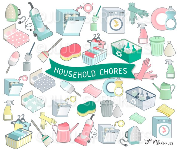 household chore clipart and sticker