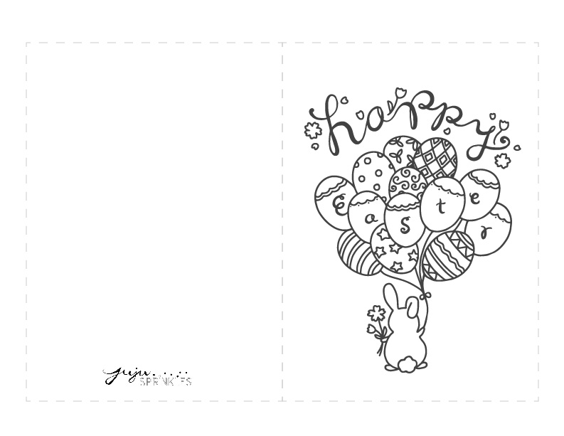 FREE Happy Easter Bunny Coloring Page and Card
