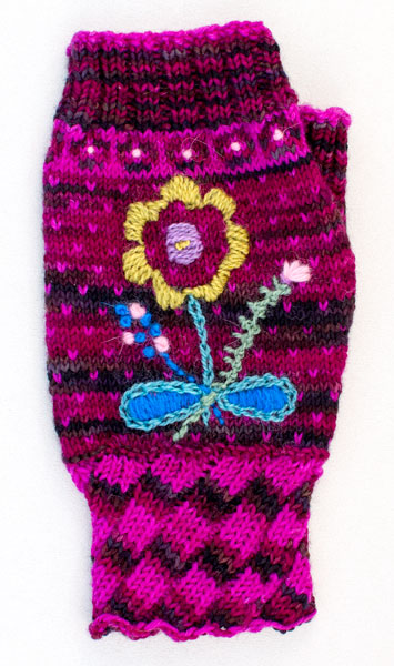embroidered fingerless mitt from my upcoming book