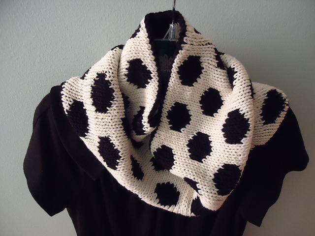 White with black polka dot side of cowl
