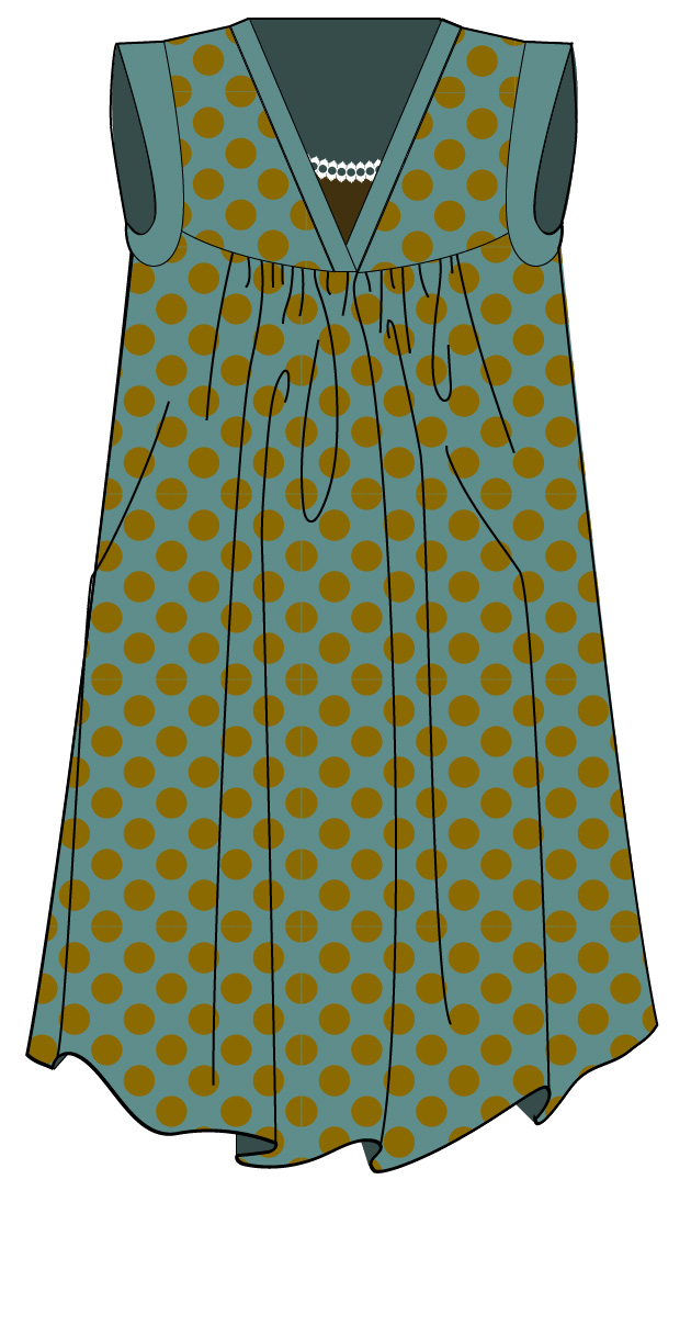 illustration of Alice Dress with V-neck