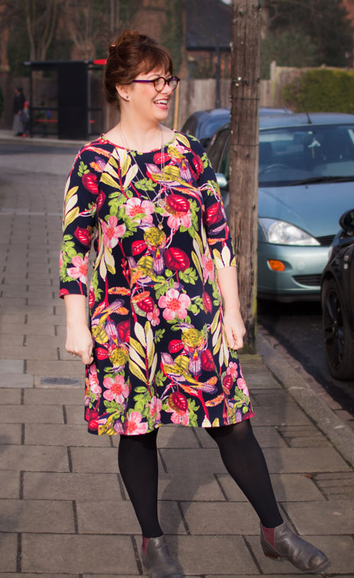 modelling my raglan A-line dress